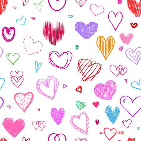 Seamless background with colored hearts. Colorful wallpaper. Hand drawn big and small hearts. Collection. Line art. Print for polygraphy, posters, t-shirts and textiles Illustration