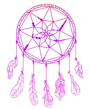 Atrapasueños. Zentangle. Plumas. Símbolo místico abstracto. Símbolo de los indios americanos. Arte zen. Diseño de relajación espiritual para adultos. Creación de arte lineal