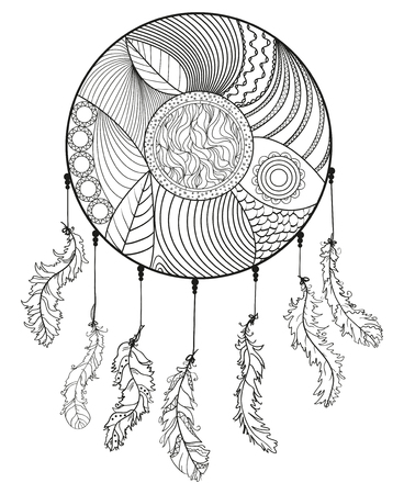 Dreamcatcher. Hand drawn american indians symbol. Zentangle. Black and white illustration for coloring. Zen art. Design for spiritual relaxation for adults. Unique image for design. Line art