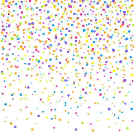 Falling multicolored glitters. Background with confetti. Pattern for design. Print for polygraphy, posters, t-shirts and textiles. Greeting cards