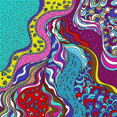 Multicolored pattern with lines and waves. Universal sea texture. Dinamic nautical background. Line art creation. Zen art. Decorative style. Zentangle. Coloring book
