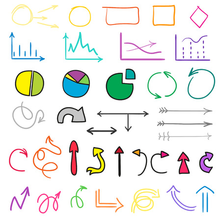Colored infographic elements on white background. Big set of multicolored signs. Hand drawn simple circles, arrows and rectangle frames. Doodles for work Foto de archivo - 103451417