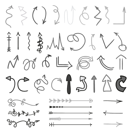Arrows. Infographic elements on white background. Black symbols for design. Hand drawn simple signs. Line art. Set of different doodles for work Иллюстрация