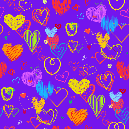 Seamless background with hearts. Geometric wallpaper of the surface. Hand drawn love signs. Collection. Line art. Print for banners, posters, t-shirts and textiles Standard-Bild - 104027530