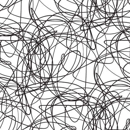 Chaos wallpaper. Chaotic pattern. Tangled texture with lines. Seamless hand drawn dinamic scrawls. Background with lines and waves. Line art. Print for banners, posters, flyers and textiles