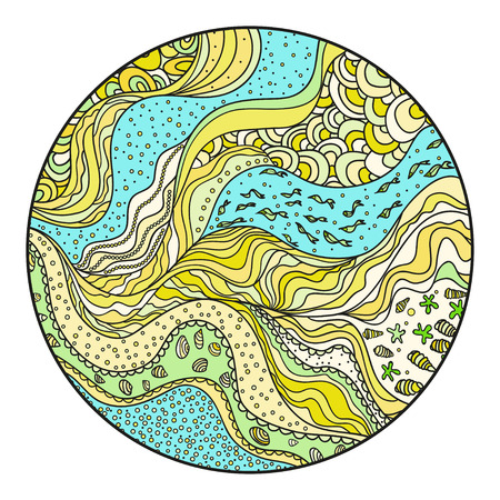 Nautical circle background. Zentangle. Coloring book. Zen art. Design for spiritual relaxation for adults. Mandala. Sea pattern with lines and waves.