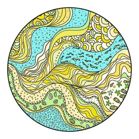 Fondo del círculo náutico. Zentangle. Libro de colorear. Arte zen. Diseño de relajación espiritual para adultos. Mandala. Patrón de mar con líneas y olas. Ilustración de vector