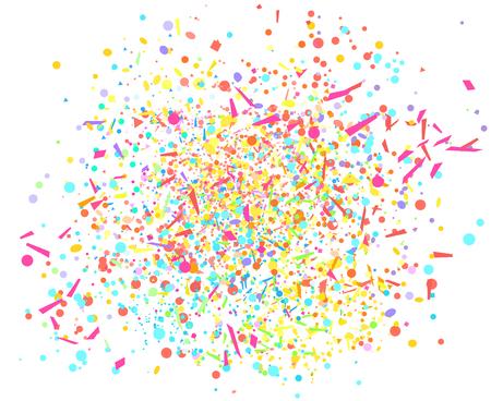 Isolamento di coriandoli multicolori su bianco. Sfondo festivo geometrico con glitter. Modello colorato per il design. Stampa per volantini, poster, striscioni e tessuti. Biglietti d'auguri. Trama di lusso