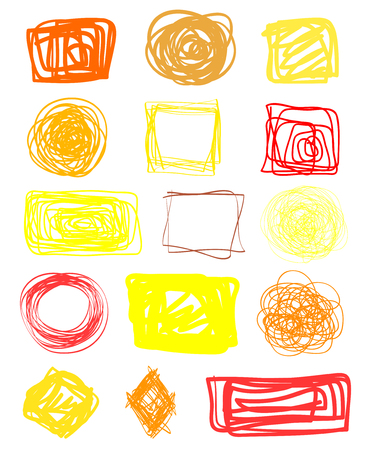 Colored tangled borders on white. Chaotic geometric frames. Hand drawn dinamic scrawls. Multicolored backgrounds with chaos stripes. Line art creation. Sketchy doodles for work and business