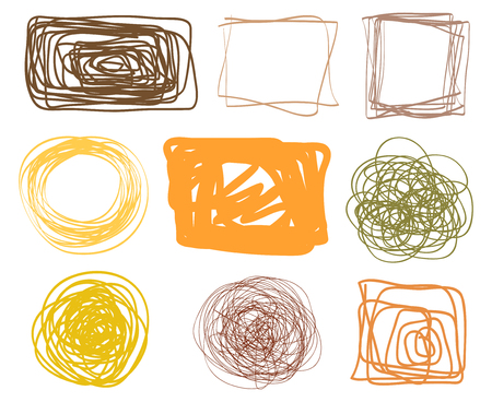 Chaotic geometric frames. Colored abstract tangled borders. Hand drawn dinamic scrawls. Multicolored illustration. Backgrounds with chaos stripes. Line art creation. Sketchy doodles for work