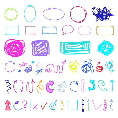 Infographic elements on isolated background. Set of different signs. Hand drawn simple symbols. Sketches for design on white. Abstract arrows and frames. Sketchy doodles for business