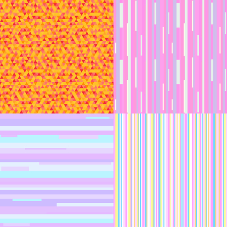 Set of seamless colored patterns. Pretty bright and pastel colors. Geometric wallpaper of the surface. Striped backgrounds. Print for polygraphy, posters, t-shirts and textiles. Doodle for work Illustration