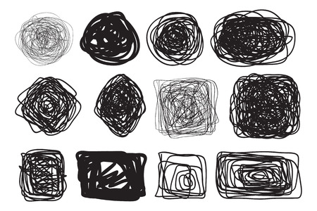 Chaos shapes for design on white. Abstract tangled textures. Random chaotic lines. Hand drawn dinamic scrawls. Black and white illustration. Backgrounds with stripes. Universal pattern. Art creative