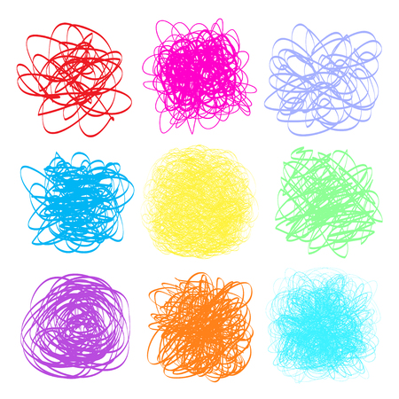 Colored tangled patterns on white. Chaotic stripes. Backgrounds with lines and waves. Universal chaos textures. Art creation. Print for polygraphy, posters, t-shirts and textiles. Doodles for design Illustration