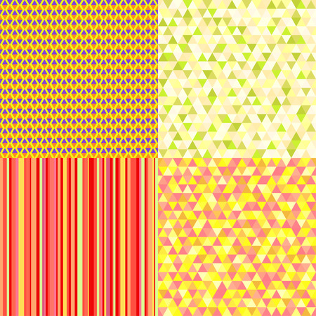 Set of seamless colored patterns. Warm bright colors. Abstract geometric wallpaper of the surface. Striped backgrounds. Prints for banners, posters, flyers, t-shirts and textiles. Doodle for work