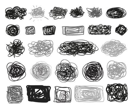 Signes grunge. Éléments d'infographie sur fond isolé. Grand ensemble sur blanc. Symboles emmêlés simples dessinés à la main. Doodles pour la conception. Dessin au trait. Cercles abstraits, ovales et cadres rectangulaires