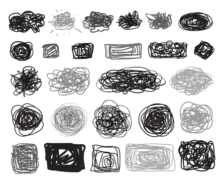 Grunge signs. Infographic elements on isolated background. Big set on white. Hand drawn simple tangled symbols. Doodles for design. Line art. Abstract circles, ovals and rectangle frames Illustration
