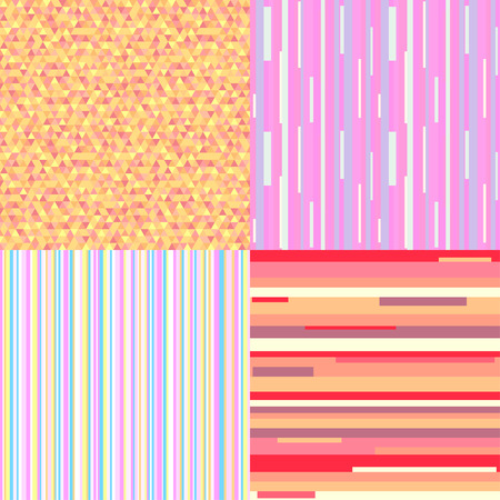 Set of seamless colored patterns. Pretty bright colors. Abstract geometric wallpaper of the surface. Striped backgrounds. Prints for polygraphy, posters, flyers, t-shirts and textiles. Doodle for work