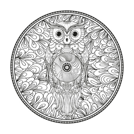 Zendala with owl on white. Design Zentangle. Hand drawn mandala with abstract patterns on isolation background. Design for spiritual relaxation for adults. Black and white illustration for coloring