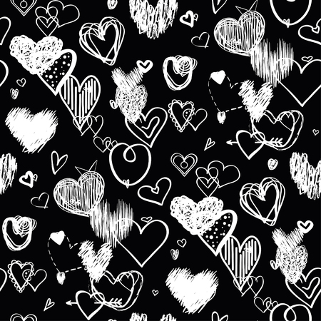 Hearts on black background. Abstract seamless wallpaper of the surface. Hand drawn love signs. Line art. Print for banners, posters, flyers and textiles