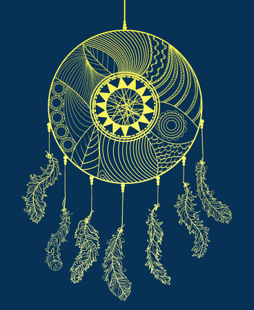 Hand drawn dreamcatcher on dark background. Design Zentangle. Abstract mystic symbol. Zen art. Design for spiritual relaxation for adults. Line art creation. Doodle for work