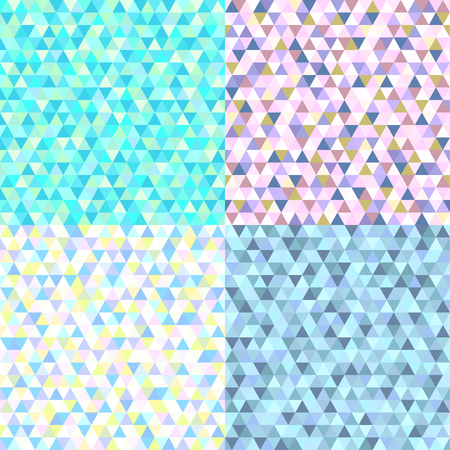 Set of seamless triangle patterns. Pretty colors. Abstract geometric wallpaper of the surface. Cute background. Print for polygraphy, posters, t-shirts and textiles. Doodle for work