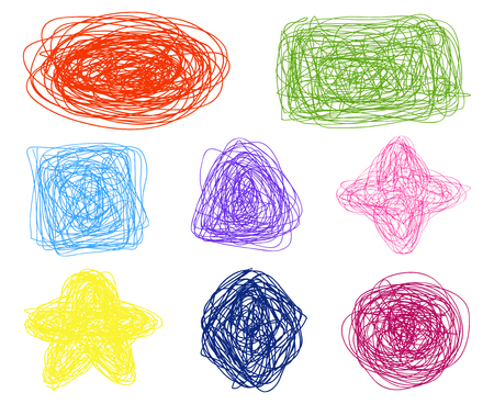 Simple geometric shapes. Chaos patterns on white. Abstract colored textures. Chaotic threads. Hand drawn dinamic scrawls. Backgrounds with tangled lines. Art creation Illustration