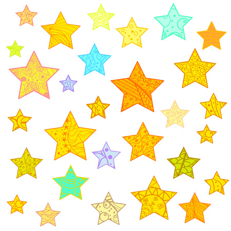 Star. Set of bright stars. Abstract colored patterns on isolation background. Design for spiritual relaxation for adults. Zen art. Ilustração