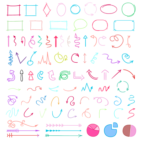 Set of colored infographic elements on isolated background. Big collection of different signs. Hand drawn simple elements. Shapes for inscriptions. Line art. Abstract circles, arrows and frames Illustration