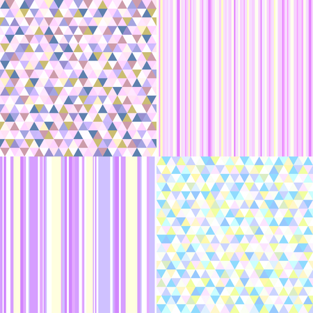 Set of seamless colored patterns. Pretty light colors. Abstract geometric wallpaper of the surface. Cute backgrounds. Print for polygraphy, posters, t-shirts and textiles. Doodle for work