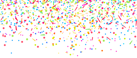 Colored pattern with random falling multicolored confetti on white background. Texture with glitters for design. Greeting cards
