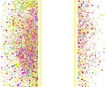 Multicolored pattern with random falling colored confetti on white background. Texture with glitters for design. Greeting cards. Explosion. Bright firework. Print for polygraphy and posters