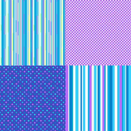 Set of colored textures. Seamless pattern with many lines. Striped multicolored background. Geometric wallpaper of the surface. Print for polygraphy, t-shirts and textiles Vetores