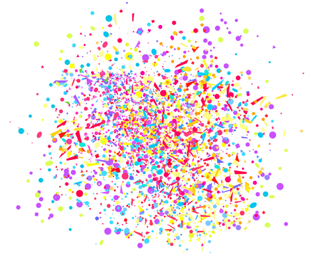 Explosion. Firework. Texture with random geometric elements on white. Holiday background with confetti. Pattern for design. Print for banners, posters, t-shirts and textiles. Greeting cards Illustration