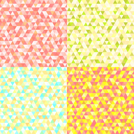 Set of seamless colored patterns. Pretty light colors. Backdrops with geometric stripes. Abstract triangle wallpaper of the surface. Cutebackgrounds. Print for posters, t-shirts and textiles