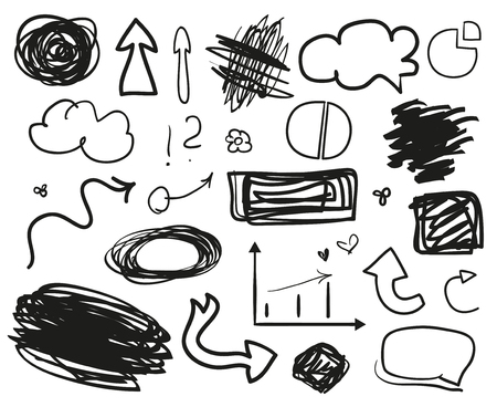 Infographic elements on isolation background. Set of different indicator signs. Tangled backdrops. Dirty artistic design objects. Doodles for work. Line art. Abstract circles, arrows and rectangles