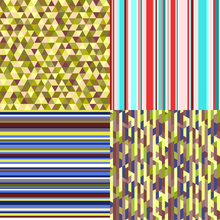 Set of seamless colored patterns. Pretty bright colors. Abstract geometric wallpaper of the surface. Striped backgrounds. Backdrop with stripes. Print for polygraphy, posters, t-shirts and textiles.