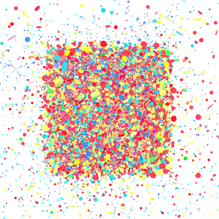 Colorful square shape. Multicolored confetti in rectangle shape on white. Colored pattern for design. Holiday background with glitters. Print for flyers, posters, banners and textiles. Greeting cards