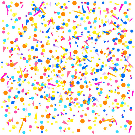 Bright explosion. Multicolored pattern with random falling colored confetti on white background. Texture with glitters for design. Greeting cards. Print for polygraphy, posters, banners and textiles