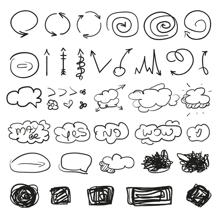 Big set of different signs. Hand drawn simple symbols for design. Line art. Infographic elements on white. Abstract circles, arrows, clouds and rectangle. Sketchy doodles for work Ilustrace