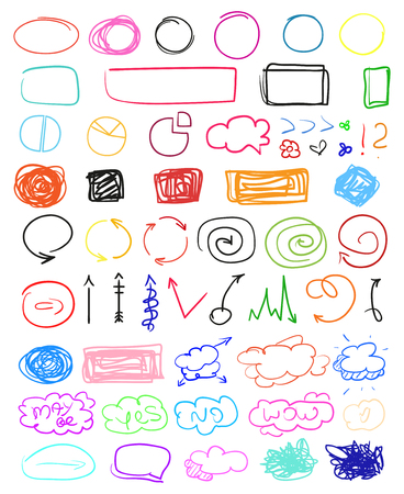Multicolored infographic elements isolated on white. Set of different indicator signs. Tangled backdrops. Hand drawn simple objects. Line art. Abstract circles, arrows and rectangles. Symbols for work Illustration