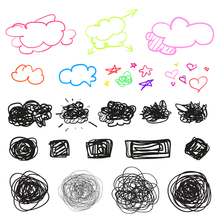 Hand drawn simple chaotic symbols on white. Doodles for design. Line art. Abstract geometric shapes. Infographic elements on isolated background. Set of different signs. Tangled backdrops