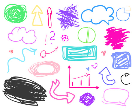 Infographic elements on isolation background. Set of different signs. Hand drawn simple symbols. Sketches for design on white. Abstract arrows and rectangle frames. Sketchy doodles for business