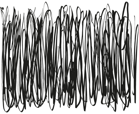 Chaos. Abstract tangled texture. Random chaotic lines. Hand drawn dinamic vertical scrawls. Black and white illustration. Background with stripes. Universal pattern. Art creation