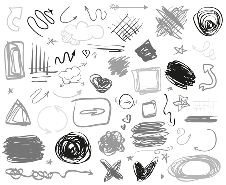 Abstract chaotic circles, arrows and rectangle frames. Symbols for design and work. Big set of different signs. Hand drawn simple objects. Doodles for design. Line art. Infographic elements on white