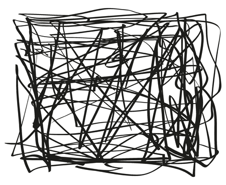 Chaos element on white. Abstract tangled texture. Random chaotic lines. Hand drawn dinamic vertical scrawls. Black and white illustration. Background with stripes. Universal pattern. Art creation
