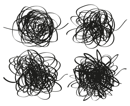 Set of chaos patterns. Scribble sketches. Background with array of lines. Tangled on white. Intricate chaotic texture. Black and white illustration. Print for polygraphy, flyers, posters and t-shirts
