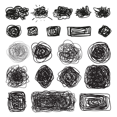 Hand drawn simple chaotic elements on white. Doodles for design. Line art. Abstract geometric shapes. Infographic symbols on isolated background. Set of different signs. Tangled backdrops