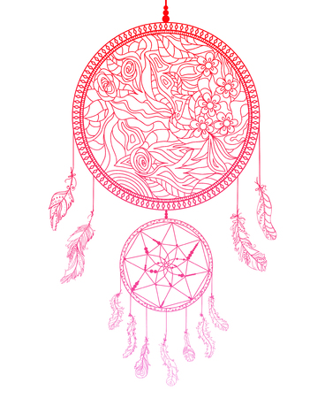 Dreamcatcher on white. Feathers. Abstract mystic symbol. American indians symbol. Zen art. Design for spiritual relaxation for adults. Line art creation.