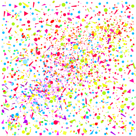 Square texture with colored elements on white. Festive background with confetti. Pattern from glitters. Print for banners, posters, t-shirts and textiles. Greeting cards Ilustrace